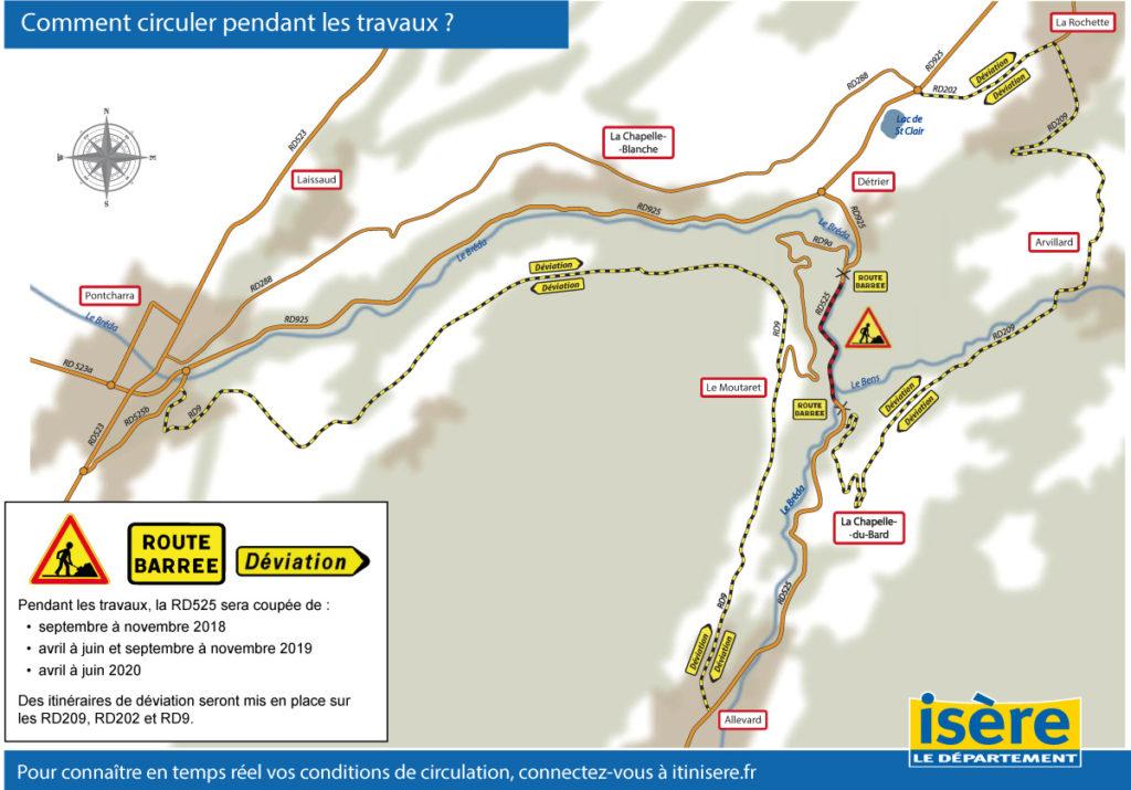 Travaux routiers entre Pontcharra et la Rochette