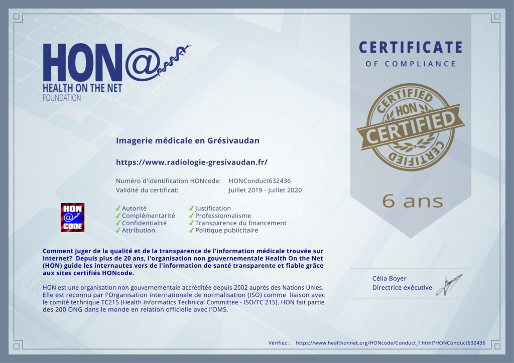 Recertification HON-code du site internet