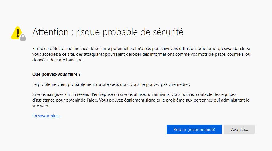 Message d'erreur du serveur de diffusion avec Firefox