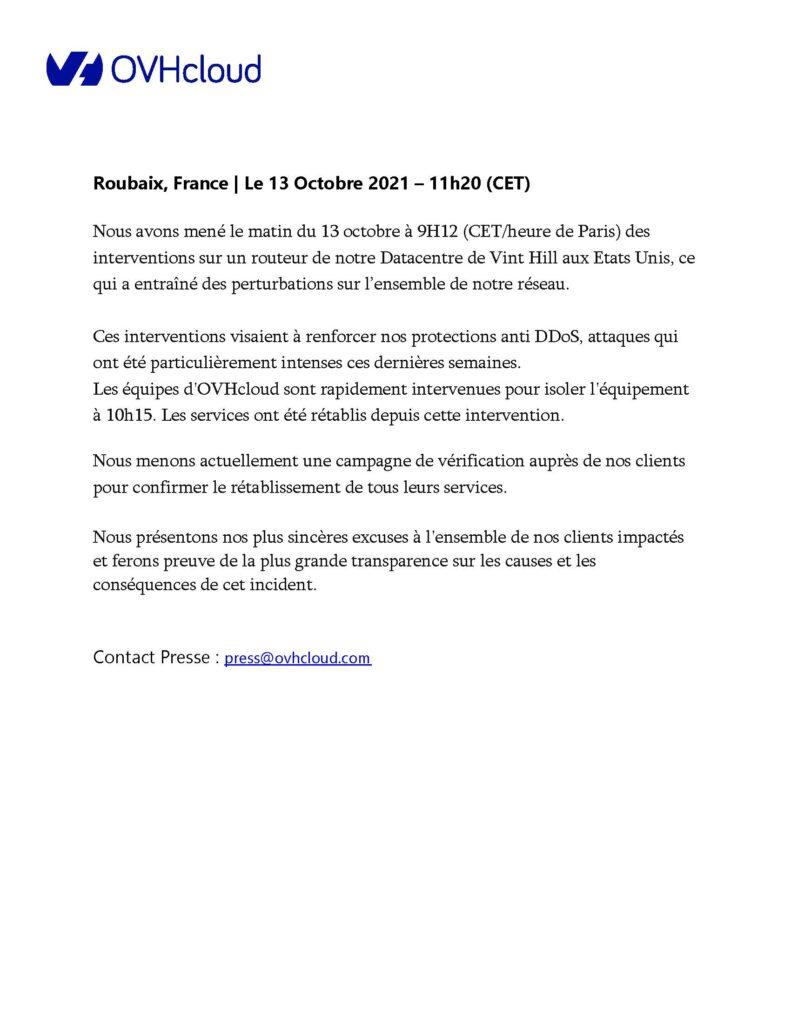 Site internet en panne le 13/10/2021